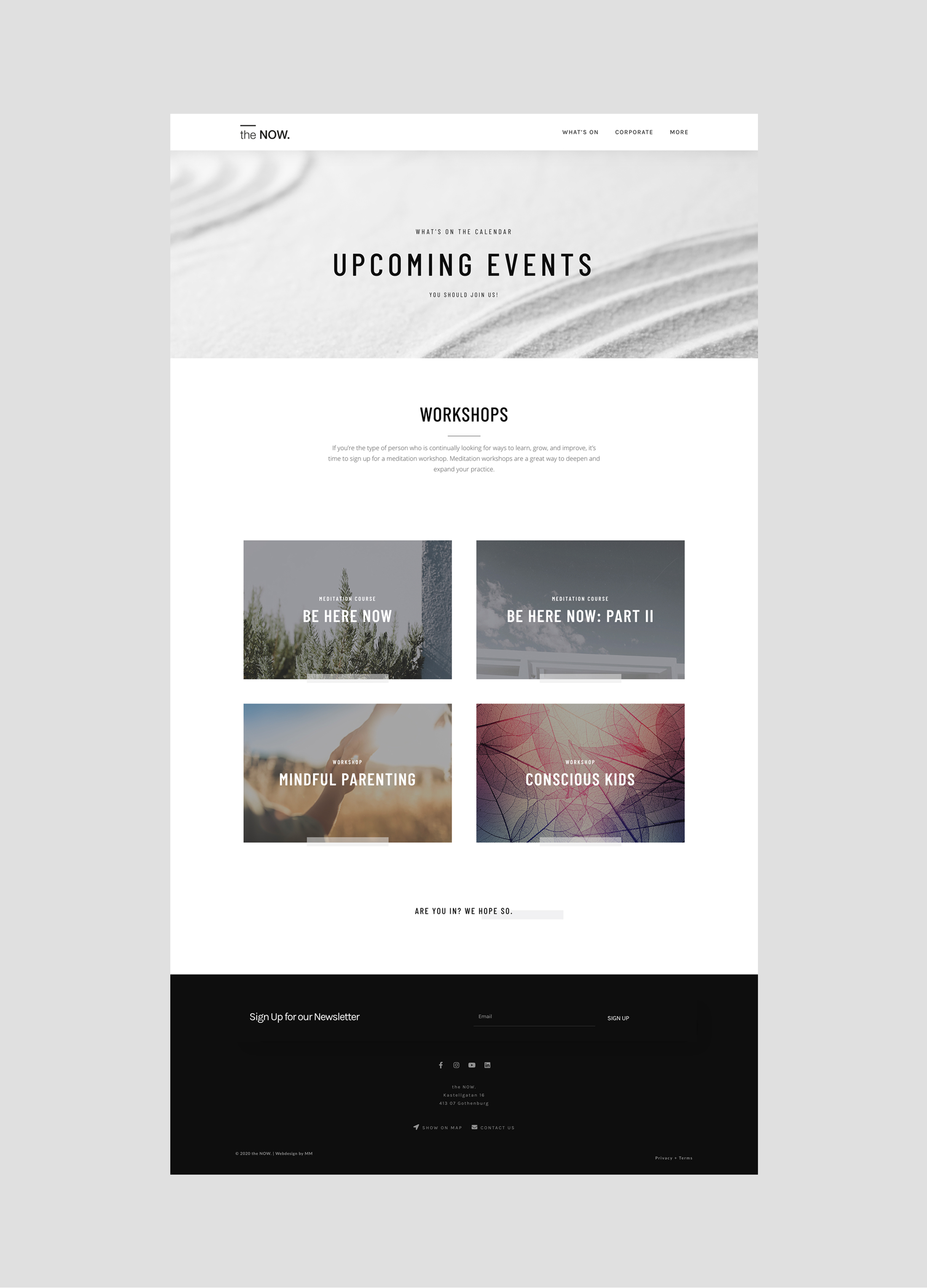 Upcoming events webdesign the NOW